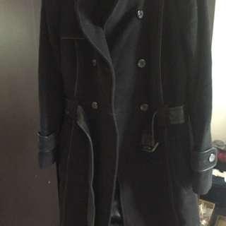 Women's Daniel wool/cashmere and leather coat - size XXS