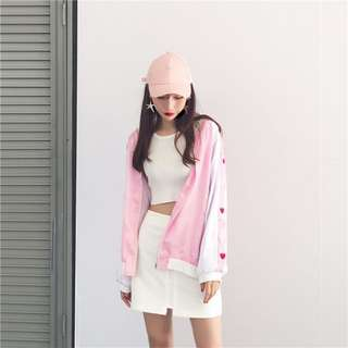 HEART CLUB pink satin bomber jacket