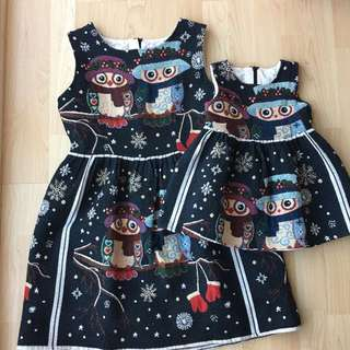 Matching Mom And Baby Owl Dresses