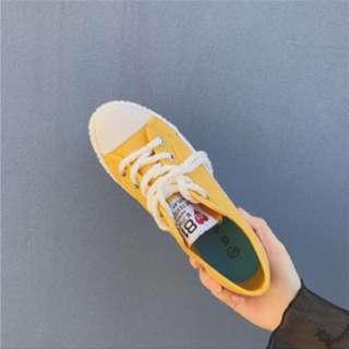 中高底帆布鞋 黃36號