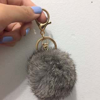 Grey Rabbit Fur Keychain