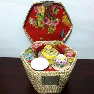 Chinese Wicker Bamboo Basket Tea Set