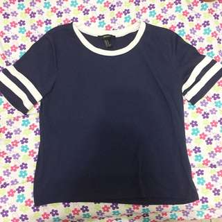 F21 Navy Blue Shirt With Stripes