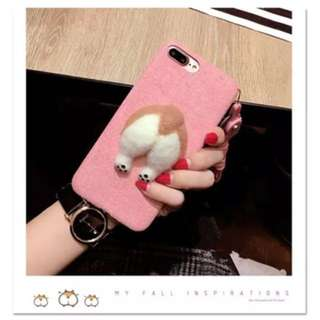 Fluffy Corgi Butt Case for iPhone 7+ (pink)