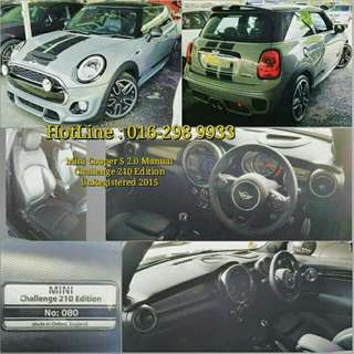 Mini Cooper S 2.0 Manual Challenge 210 Edition  🚘UK Spec  UnRegistered Year 2015   🚨Limited Edition 80/210 ✔210hp with 300NM torque    📣FOR SALE ~~     📣📣📣CALL NOW for more information   📣📣📣📣HotLine : 016-298 9933