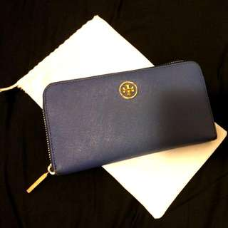 PRICE LOWERED Tory Burch Royal Blue Robinson Continental Zip Wallet (Retail $320)