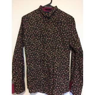 Black Floral shirt Size S