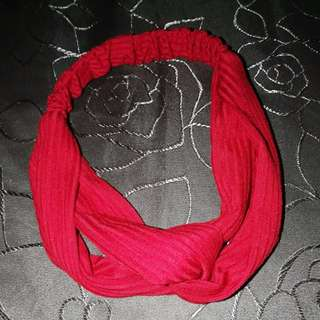 Elastic Turban Head Wrap Headband Twisted Knotted Hair Band (RED)
