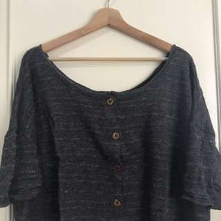 Knit top wide cut neck