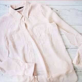 Sheer Pink Button Up Top