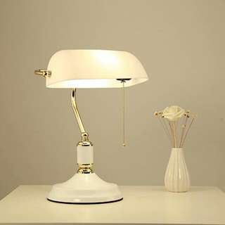 Banker's Lamp in White/Gold