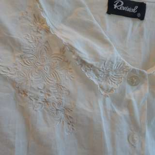 Revival White Cropped White Blouse Size 12