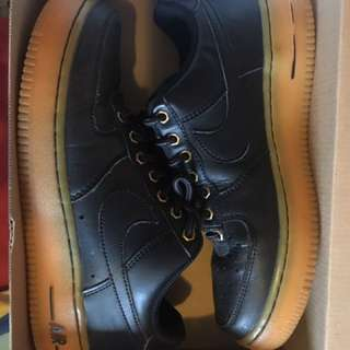 Air Force 1s (Black With Gum Bottom)