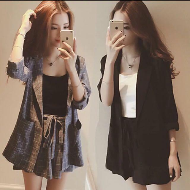 現貨🎀2016春裝新款韓版小格子西裝套裝女 兩件套九分袖外套+鬆緊腰短褲