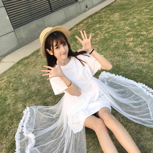 追加款🎀仙女網紗拼接花瓣連衣裙2017夏季新款韓版甜美學院風純色a字裙女