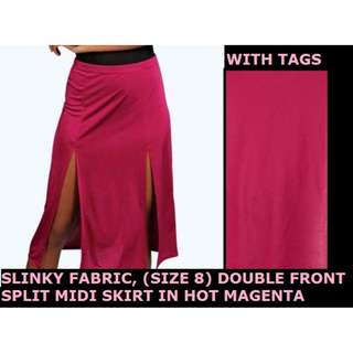 DOUBLE FRONT SPLIT MIDI SKIRT - HOT MAGENTA - NEW WITH TAGS