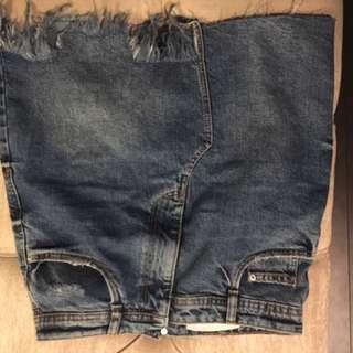 Zara High Waisted Denim Skirt