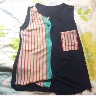 Stripes Navy Sleeveless Top