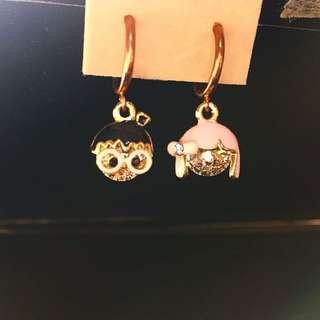 可愛耳環 小情侶 男孩女孩 眼鏡 蝴蝶結 造型 鑽石 玫瑰金 閃閃