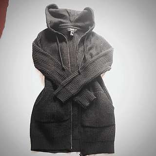 Sz S Forever21 Long Zip-up Hooded Cardigan