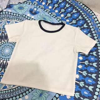 White Boxy Top With Black Lining