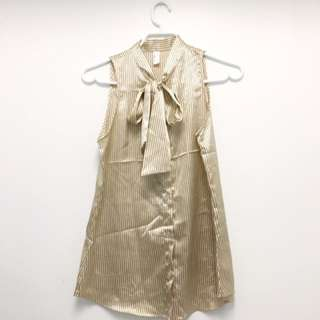American Apparel Satin Shirt With Bow (sz XS)