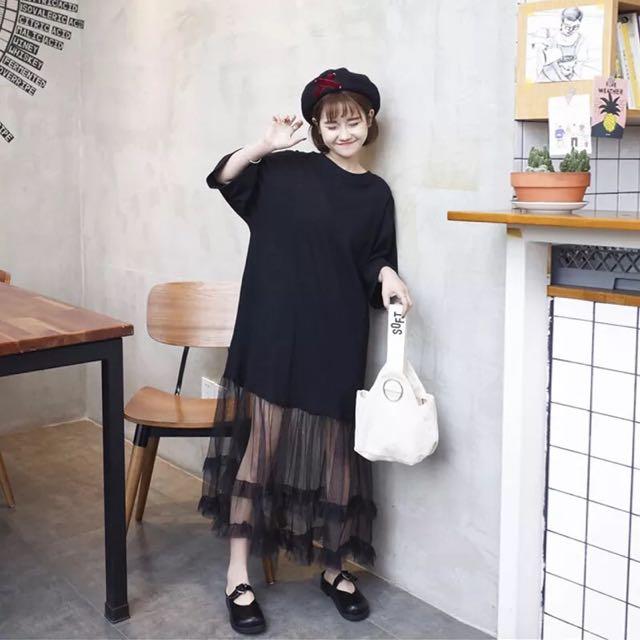 追加款🎀夏季女裝新款韓版原宿風百搭拼接網紗下襬休閒學生寬鬆連衣裙