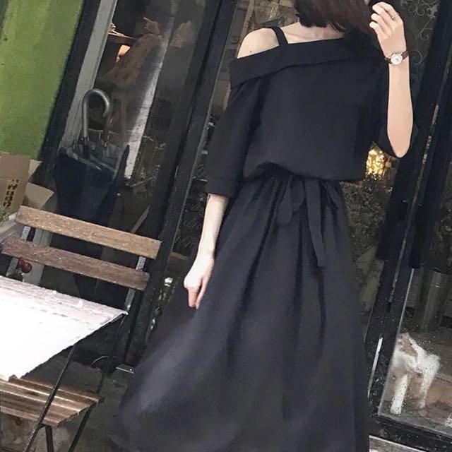 追加款🎀韓版夏季女裝復古港味氣質斜領吊帶連衣裙收腰中長款連衣裙長裙子