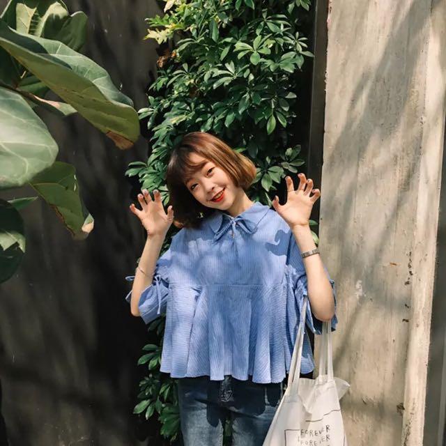 追加款🎀學院風韓版夏季女裝小清新豎條紋七分袖襯衫學生百搭寬鬆娃娃衫潮