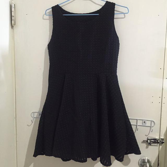 出國出清✨深藍網紋小洋裝