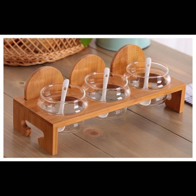 玻璃竹木蓋(含架子)