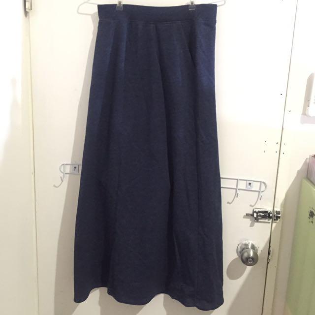 出國出清✨深藍毛巾料長裙