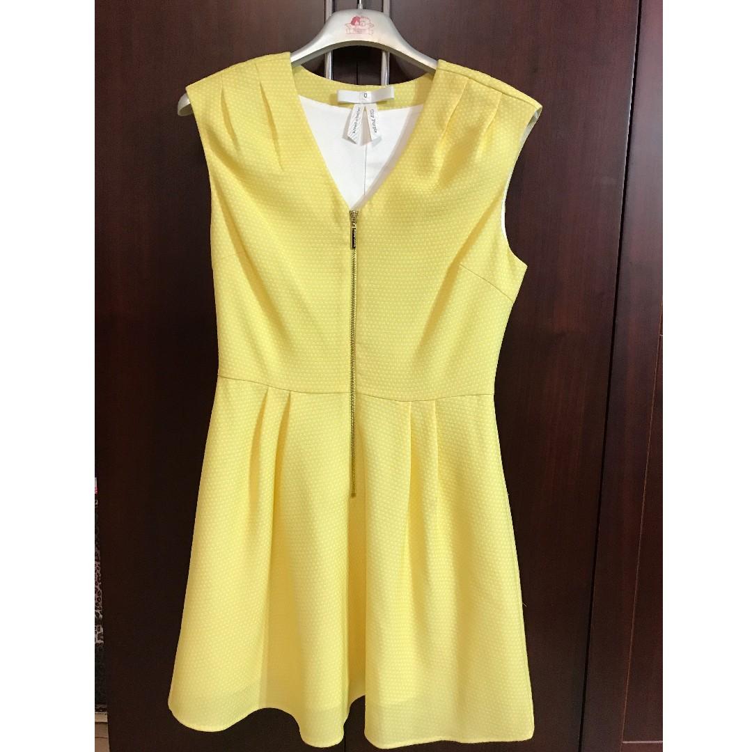 全新-專櫃品牌-黃色性感拉鍊小洋裝