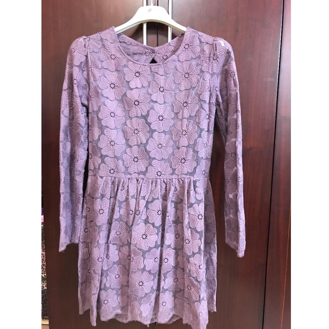 全新-正韓品牌-藕紫色緹花布設計款小洋裝