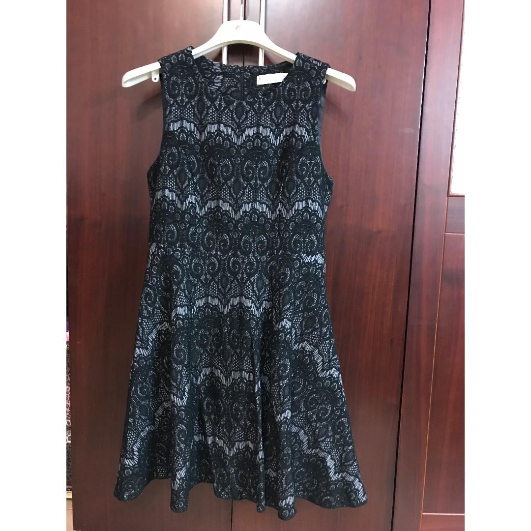 全新-正韓品牌-黑蕾絲緹花無袖小洋裝