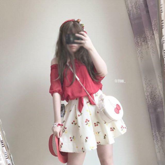 日單 櫻桃半身裙