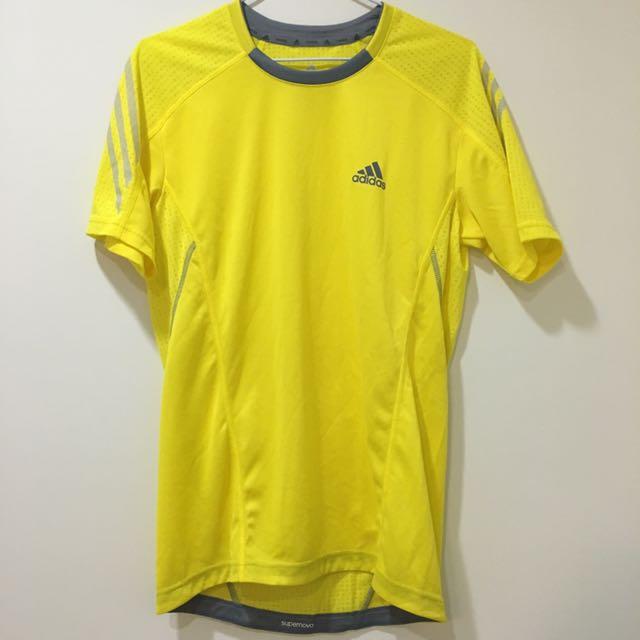 Adidas 螢光黃 透氣 運動上衣 S
