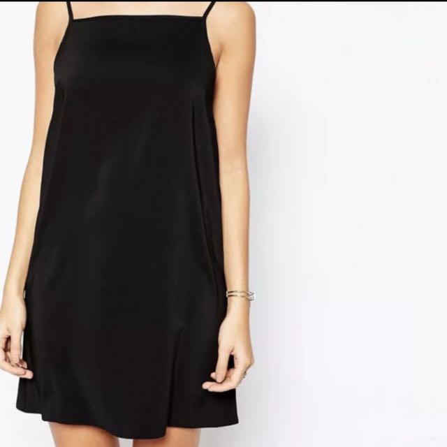 ASOS BLACK HIGH NECK SLIP DRESS