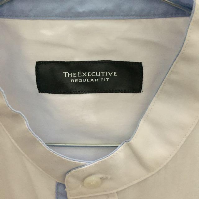 Baju Koko Warna Putih Sling Biru