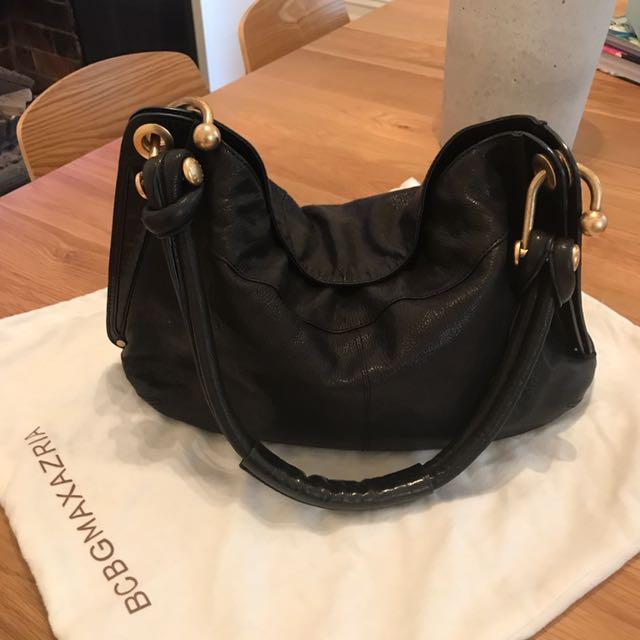BCBGMAXAZARIA Black Leather Hobo