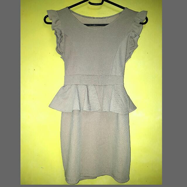 Beige Peplum Dress