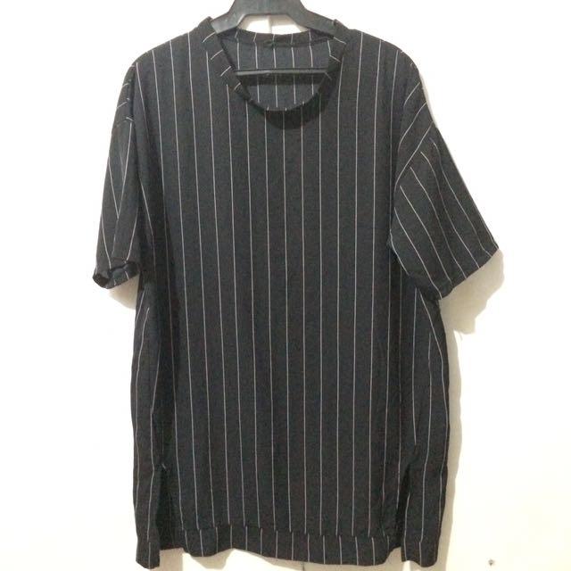 PLUS SIZE: Striped Dress Black