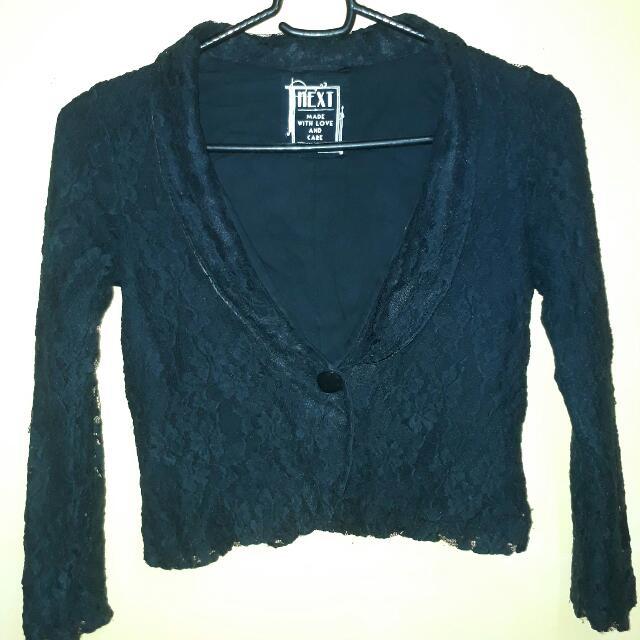 Black Flower-Patterned Lace Blazer