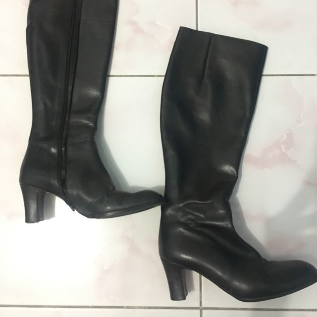 Black Genuine Leather Boots