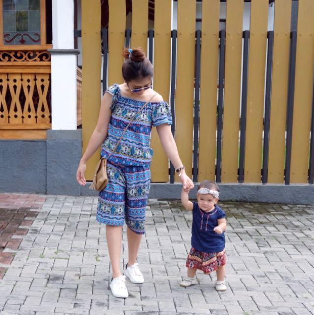Blue batik jumpsuit