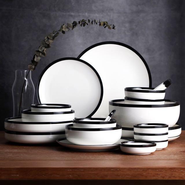 photo photo ... & Bowl Set Home Nordic Simple Tableware Bone Porcelain Plate Set ...