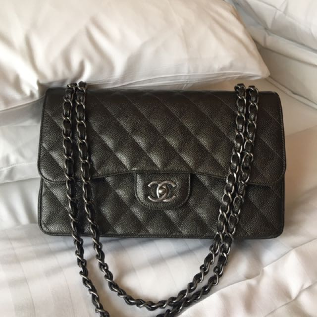 Brand New Chanel Jumbo Classic Flap Bag Caviar Skin Charcoal Grey ... faa119833a