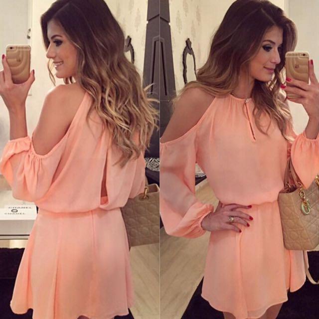 Fashion Women's Cliffon Dress; Sexy Long Sleeve Asymmetrical Backless Dress; Casual Mini Dress