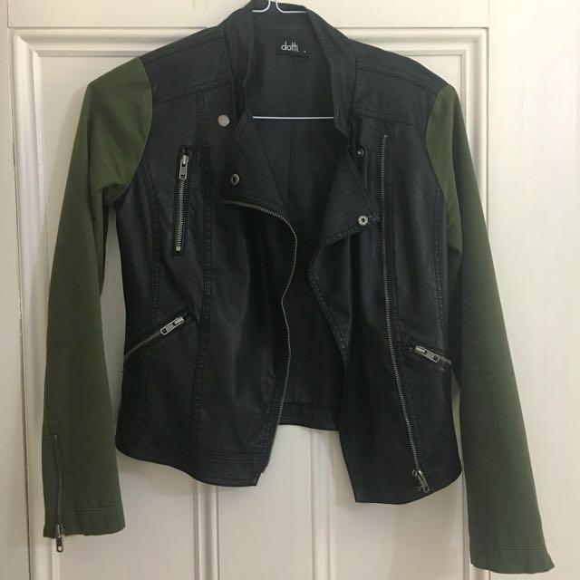 Faux Leather Jacket with Khaki Sleeves