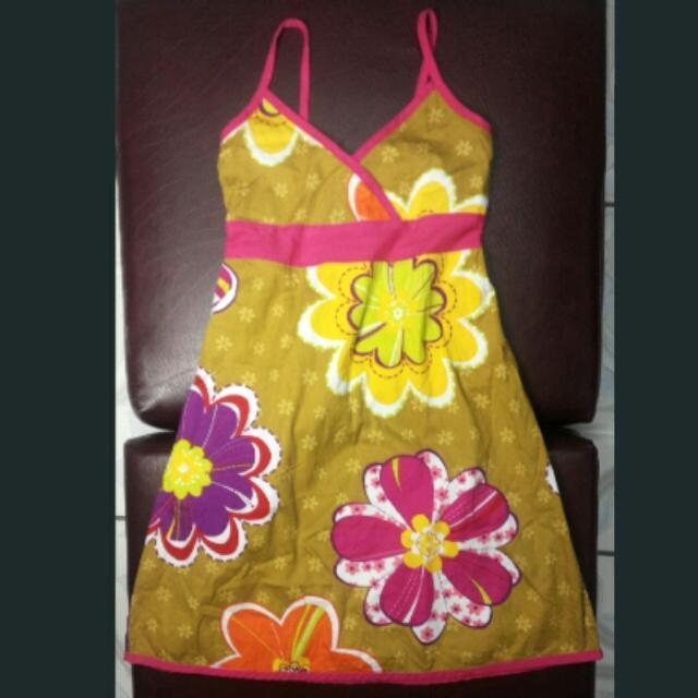 Floral Haltered Dress For 5-6yo